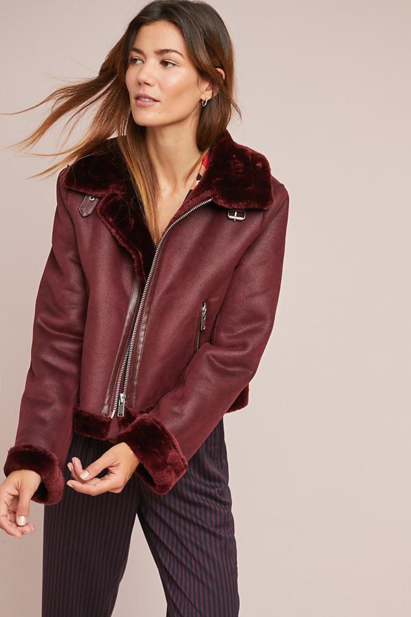 Faux-Suede Moto Jacket - Purple, Size Xl