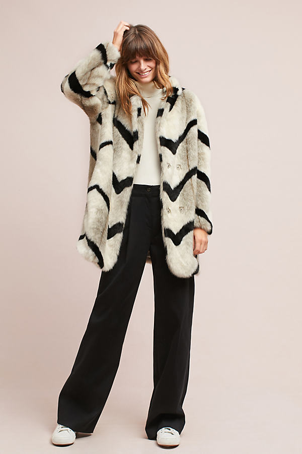 Myria Printed Faux Fur Coat - Neutral Motif, Size Xl