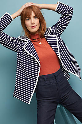Slide View: 1: Striped Peacoat