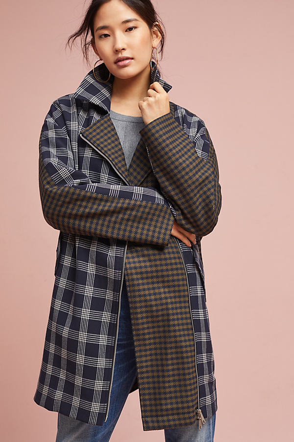 Jacob Gingham Coat, Blue - Blue Motif, Size Xs