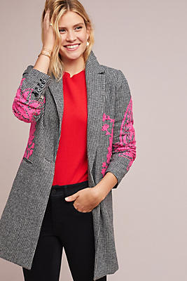Slide View: 1: Embroidered Houndstooth Blazer