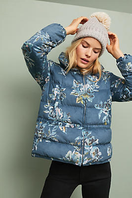 Slide View: 2: Floral Puffer Coat