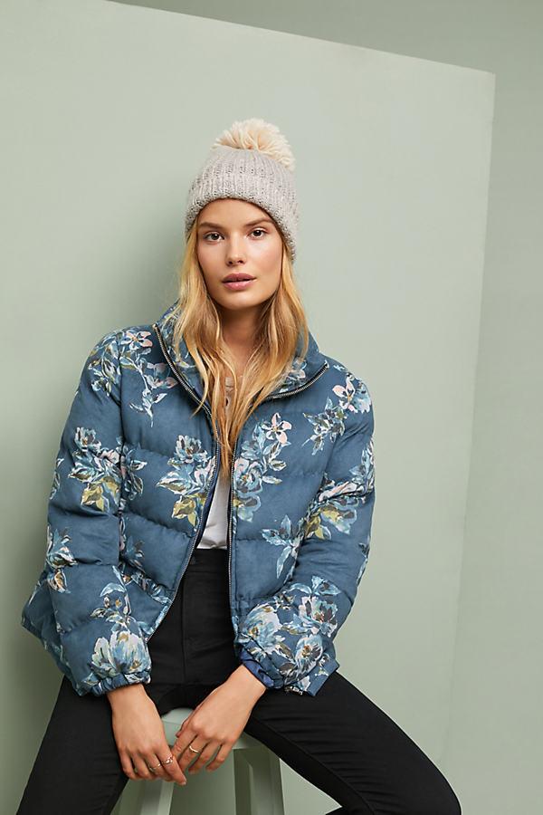 Floral Puffer Coat - Blue, Size Xl
