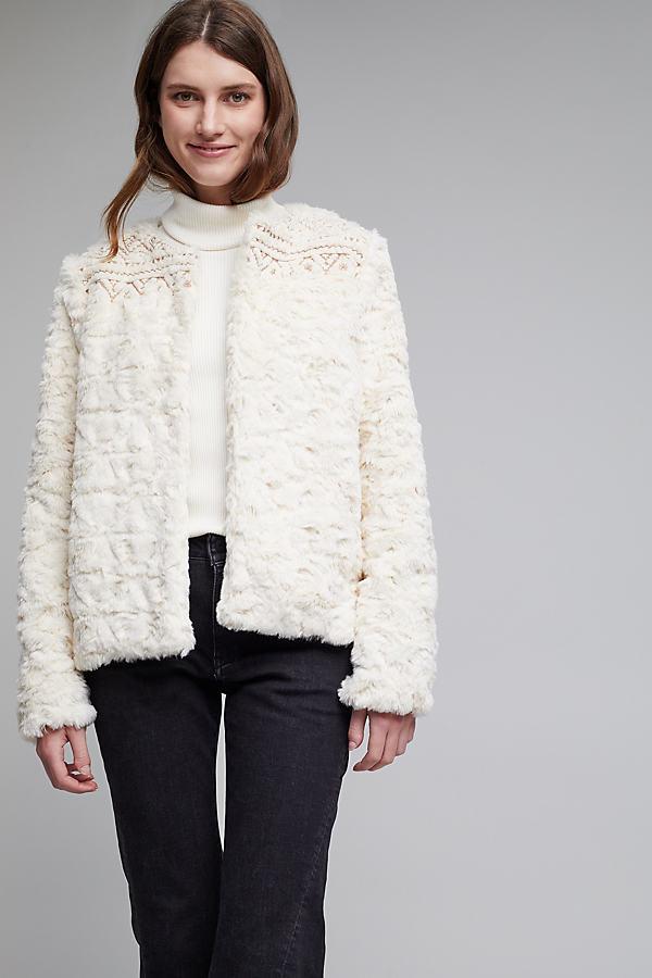 Bourgeois Faux Fur Coat, Ivory - Ivory, Size Xs