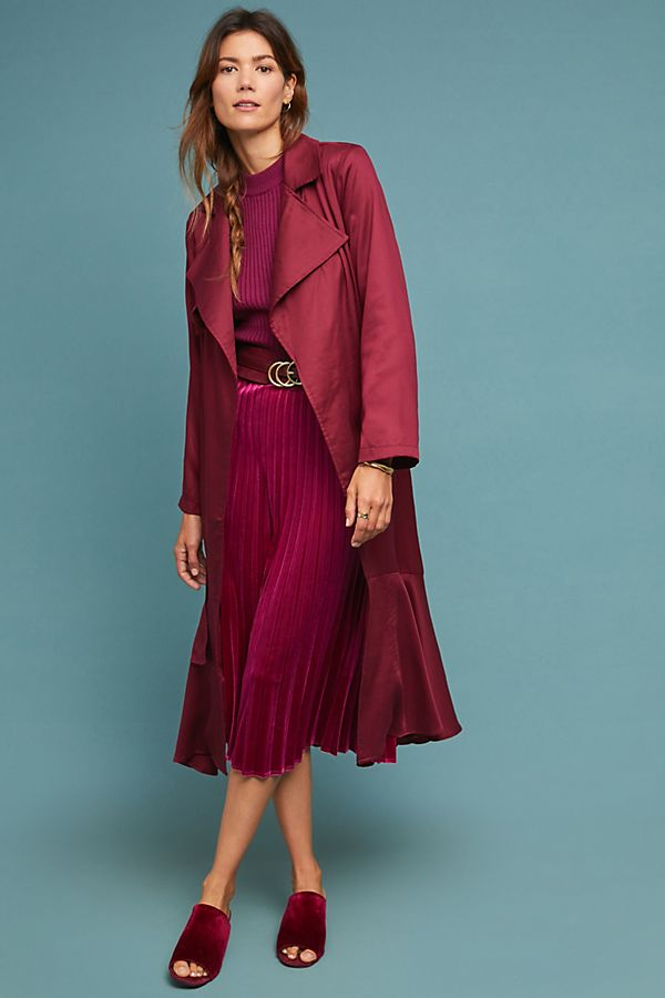 Slide View: 1: Cabernet Trench Coat