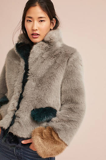Multitonal Faux Fur Coat