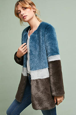 Slide View: 1: Colorblocked Faux Fur Coat