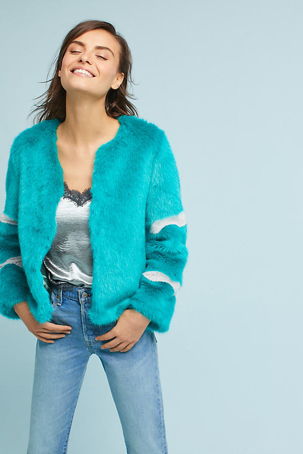 Jackie Faux Fur Coat, Turquoise - Turquoise, Size S