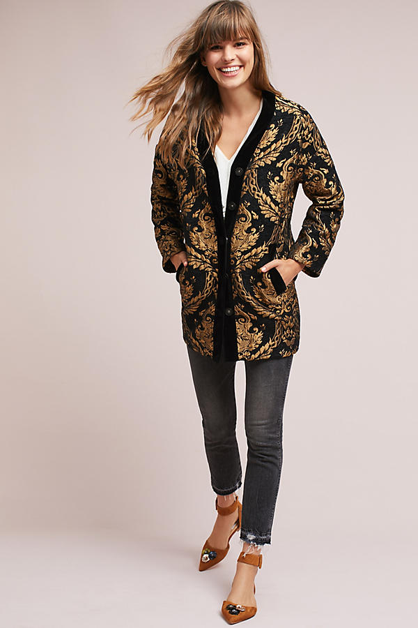 Slide View: 2: Jacquard Cocoon Coat