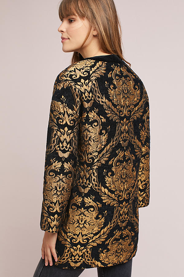 Slide View: 4: Jacquard Cocoon Coat