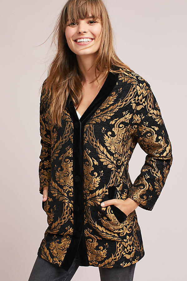 Slide View: 1: Jacquard Cocoon Coat