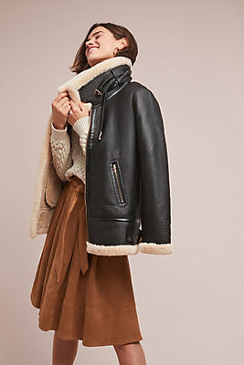 Slide View: 1: Aviator Faux Leather Coat