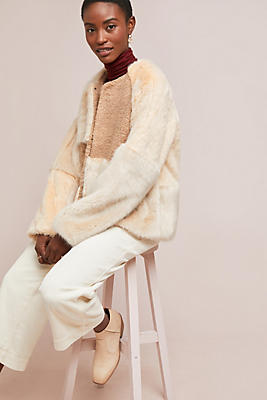 Slide View: 1: Patched Faux Fur Jacket
