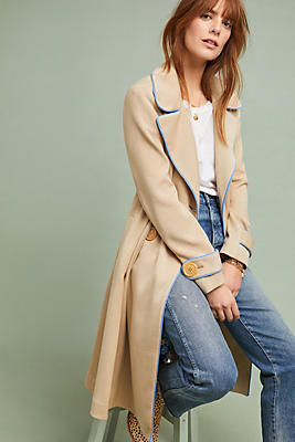 Slide View: 1: Piped Trench Coat