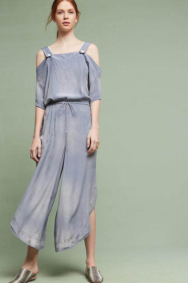 Kathrynne Open-Shoulder Jumpsuit, Blue - Blue, Size M