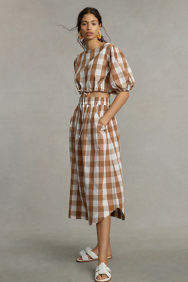 WHIT TWO Puff-Sleeved Gingham Skirt Set