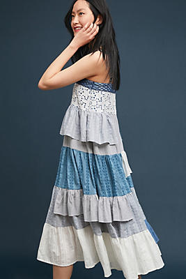 Slide View: 1: Tiered Patchwork Midi Dress