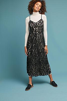 Slide View: 1: Knit & Lace Layered Dress