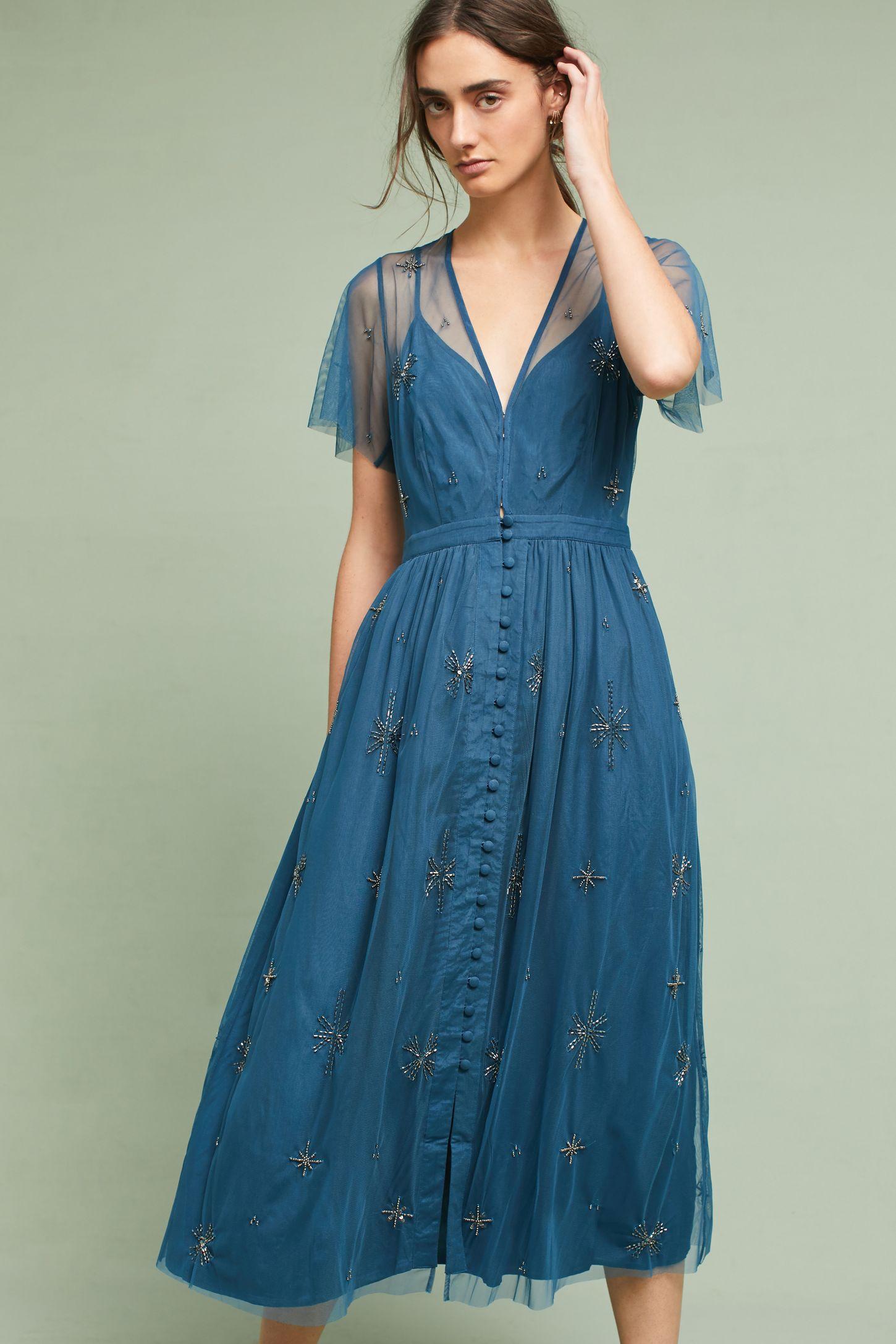 Lille Beaded Midi Dress | Anthropologie