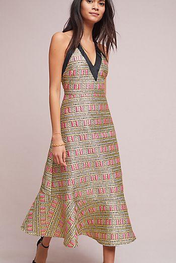Cynthia Rowley Brocade Halter Dress