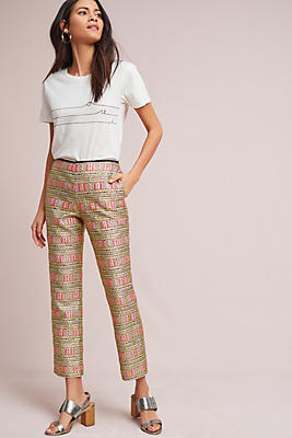 Slide View: 1: Cynthia Rowley Brocade Cropped Pants