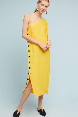 sheath chiffon asymmetric long dress yellow