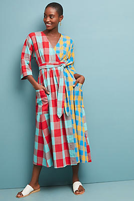 Slide View: 1: Mara Hoffman Plaid Maxi Dress