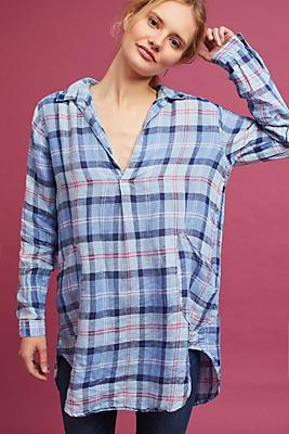 Slide View: 1: Plaid Linen Tunic