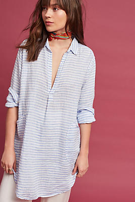 Slide View: 1: Pocketed Linen Tunic