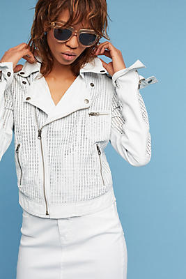 Slide View: 1: Perforated Leather Moto Jacket
