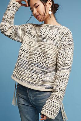 Slide View: 1: Woven Fringe Sweater