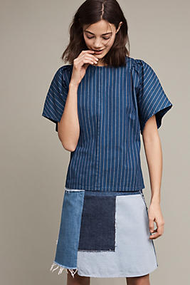 Striped Silk Mina Top