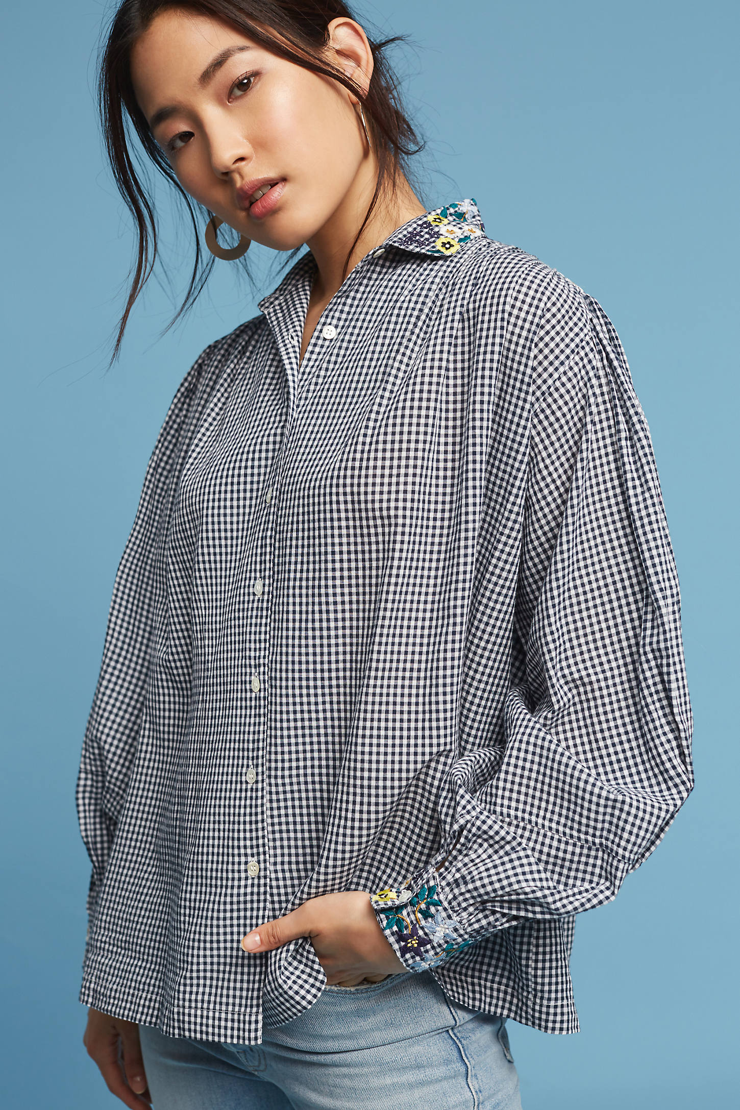 Embroidered Florals Gingham Top