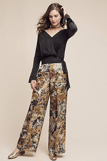 Blooming Jacquard Wide-Leg Trousers