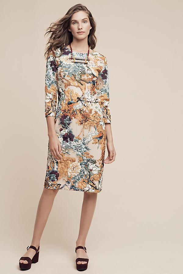 Forest Applique Dress, Neutral - Neutral Motif, Size Uk 10