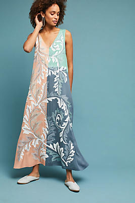 Slide View: 1: Embroidered Colorblocked Maxi Dress