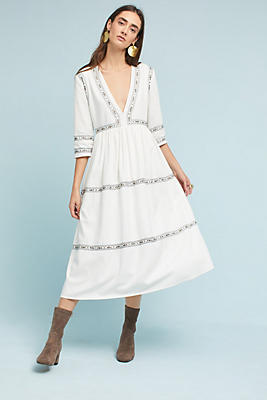Slide View: 1: Embroidered Maxi Dress
