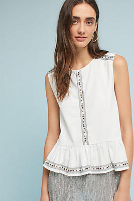 Slide View: 1: Embroidered Peplum Tank