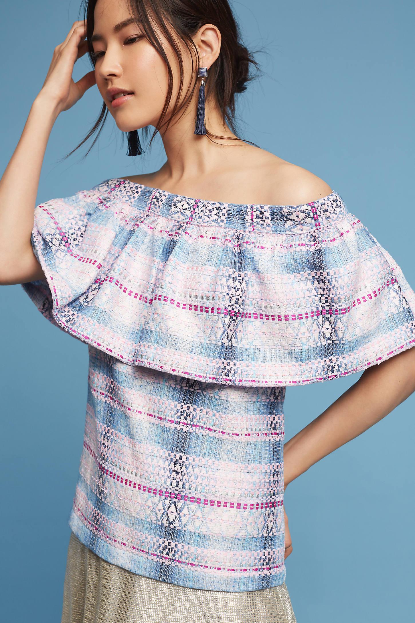Off-The-Shoulder Tweed Blouse