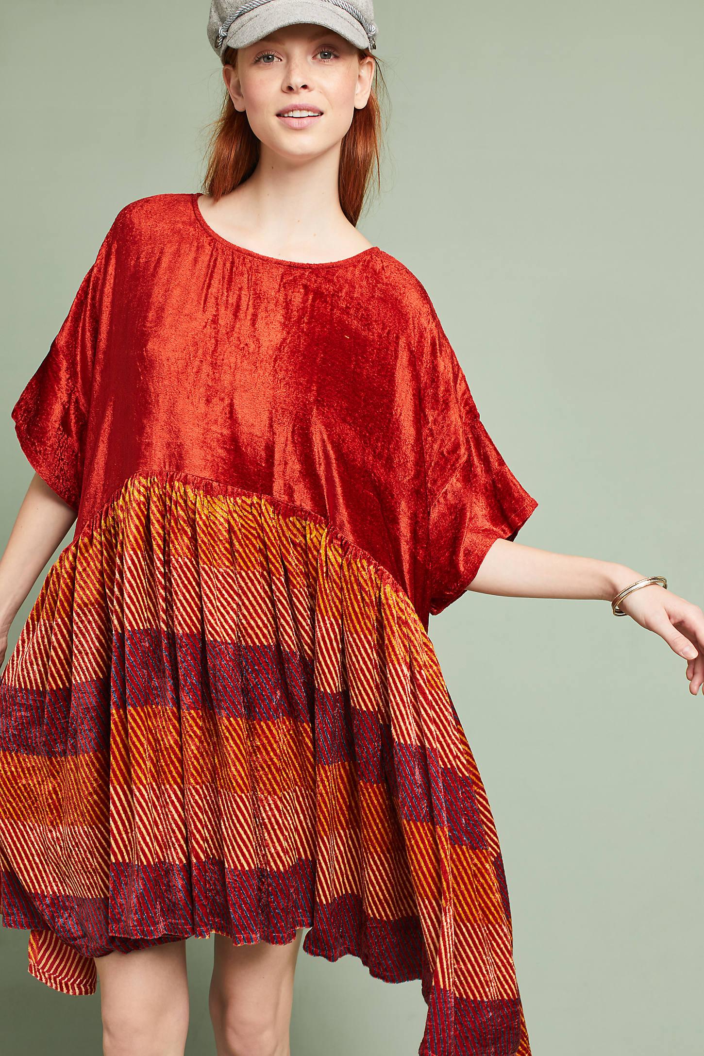 Dover Printed Velvet Swing Dress