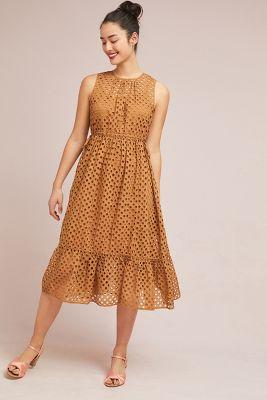 Ne Quittez Pas   Uptown Eyelet Midi Dress  -    HONEY