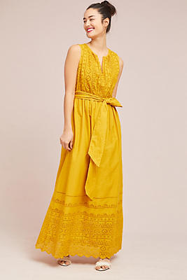 Slide View: 3: Belted Eyelet Maxi Dress