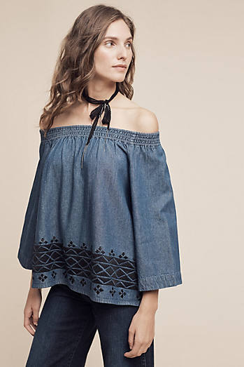 Cultivar Embroidered Denim Blouse