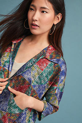 Slide View: 1: Handwoven Colorblock Jacket