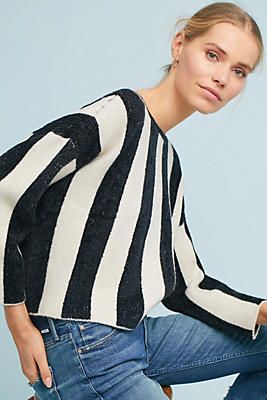 Slide View: 1: Striped Chenille Pullover