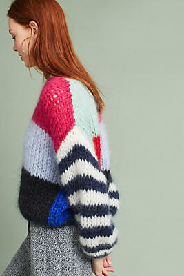 Slide View: 2: Hand-Knit Colorblocked Pullover