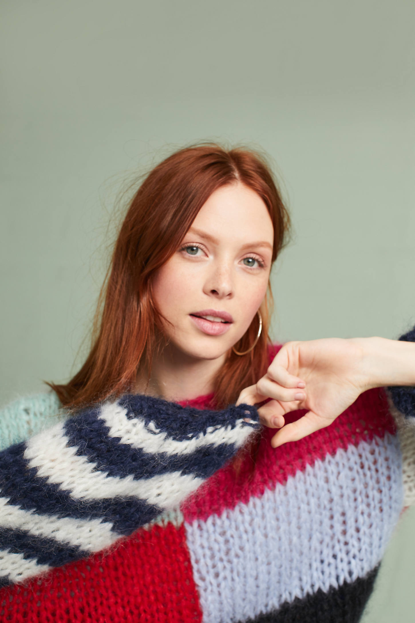 Hand-Knit Colorblocked Pullover