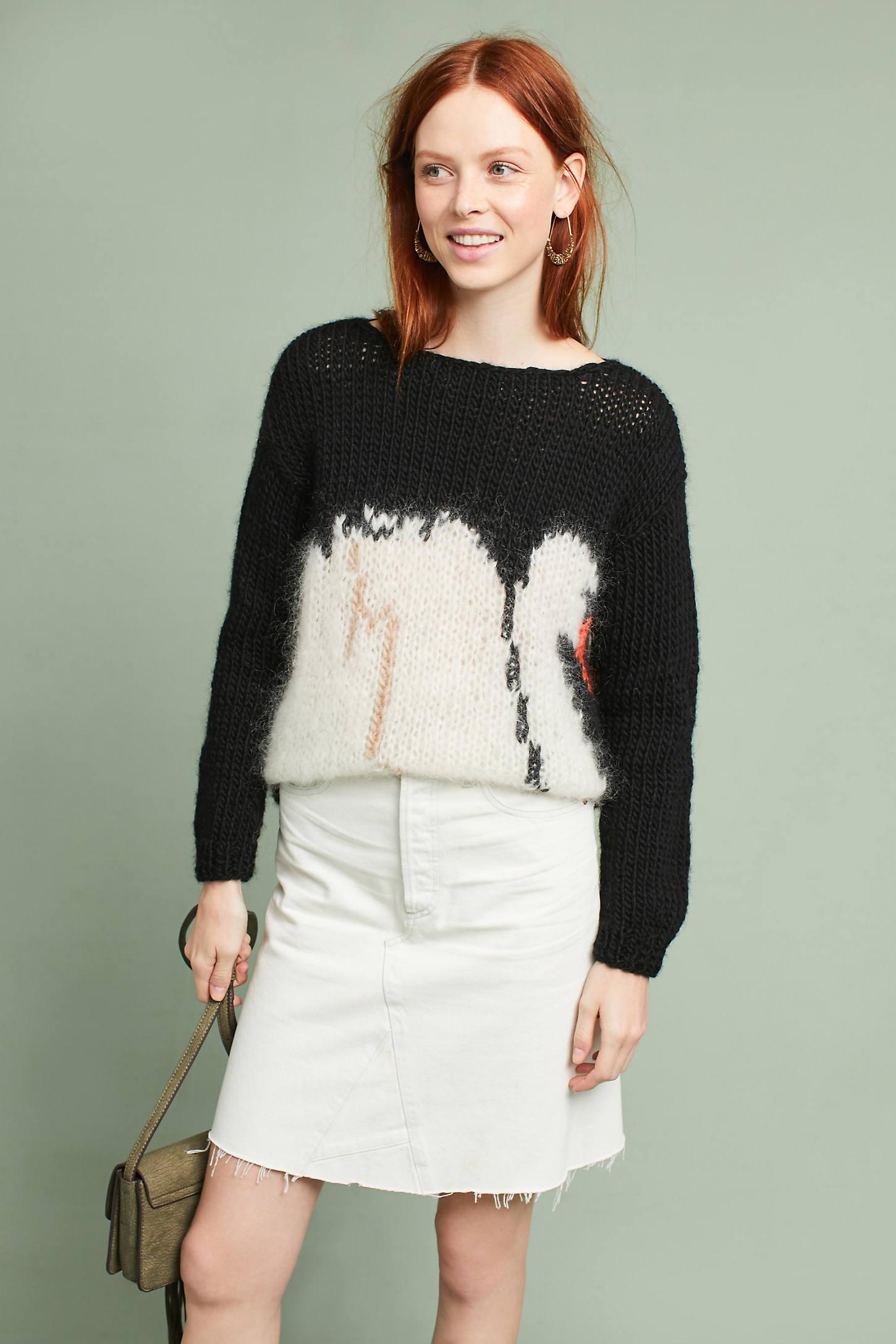 Hand-Knit Bird Pullover