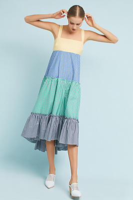 Slide View: 1: Gingham Tiered Dress