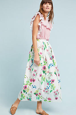 Slide View: 1: Floral Button-Front Skirt